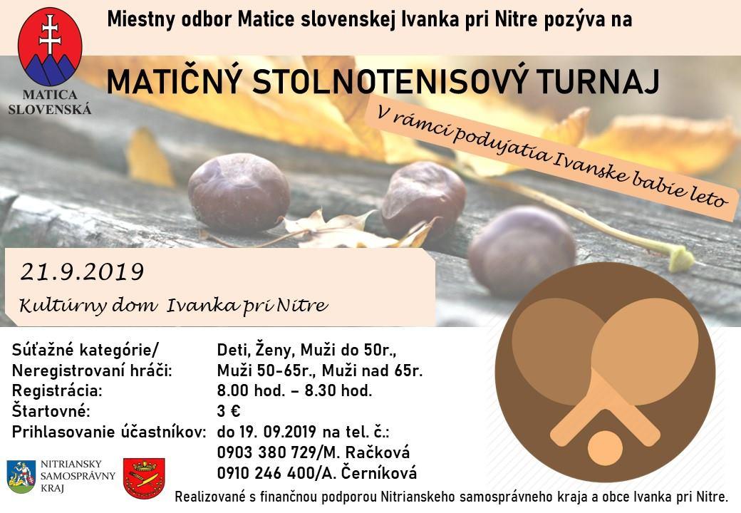 Matičný stolnotenisový turnaj 21.09.2019 Kultúrny dom Ivanka pri Nitre