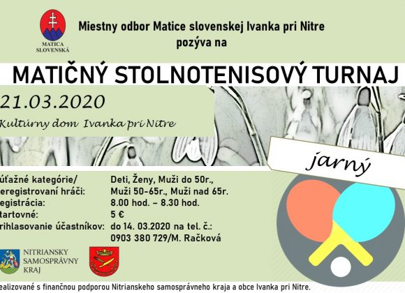 Stolnotenisový turnaj 21.03.2020