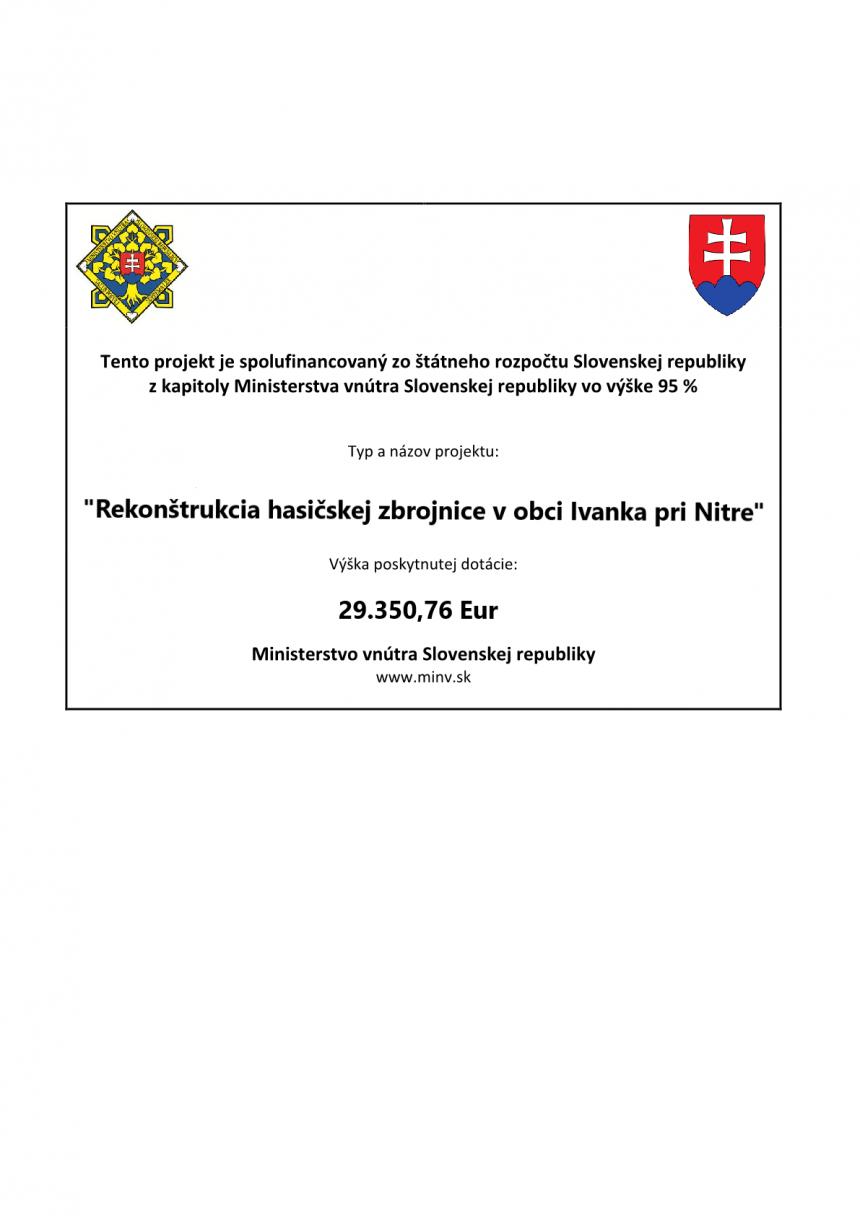 Rekonštrukcia hasičskej zbrojnice v obci Ivanka pri Nitre